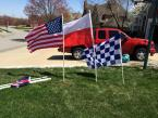We have the flag poles cut and some of the flags already mounted and ready to go for the home opener Saturday, April 12th. We will have some flag poles for members to pickup at our tailgate that day on a first come first serve basis.