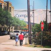 Our first views of BBVA compass stadium upon arriving in Houston.