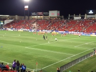 CanWNT players starting their pre game warmups.