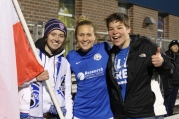 A couple Blue Crew members along with Nikki Phillips and the Polish flag we brought to the game.