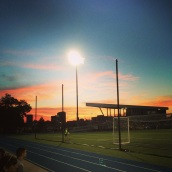 Sunset over Durwood Stadium during an FCKC match.