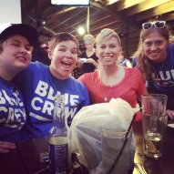 Some Blue Crew members hanging out with Joanna Lohman of the Boston Breakers at a post game party in Kansas City.