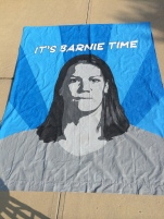 Barnie banner for the Reign game